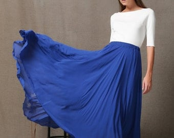 Light Blue Chiffon Long Skirt C565