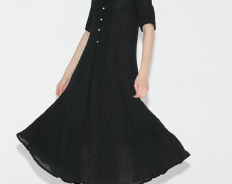 Black Elegant Long Linen Dress C689