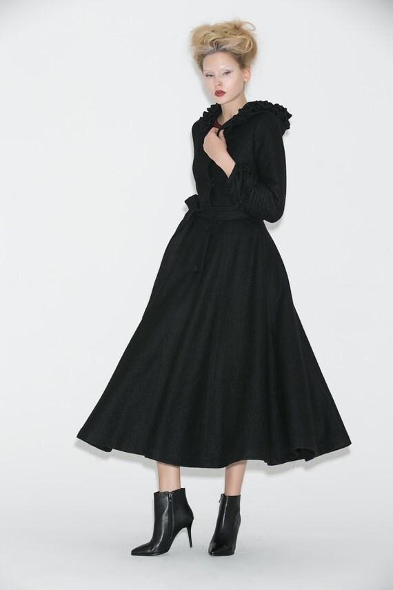 Long black wool dress coats