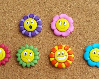 Flower Push Pins or Magnets