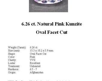 KUNZITE - Pretty 6.26 ct. Pink Kunzite GemStone in an Beautiful Oval Cut...