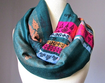 Forest green infinity scarf, pashmina  scarf, ethnic scarf,  handmade scarf