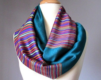 Infinity scarf, Pashmina scarf,  Teal scarf,  multicolored stripe scarf, handmade scarf