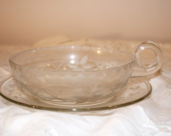 Depression Era Etched Single Handled Nappy and Saucer, Glass Cup and Saucer, Depression Glass