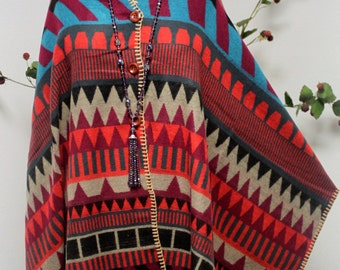 New 3 Button Warm and Cozy Stylish and Designer Poncho Shawl. One Size