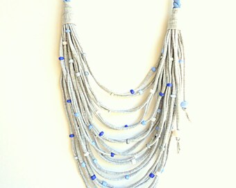Sky Blue necklace, T-shirt yarn necklace, ecofriendly neckclace, upcycled necklace, rope necklace, spring trends 2018, beach necklace