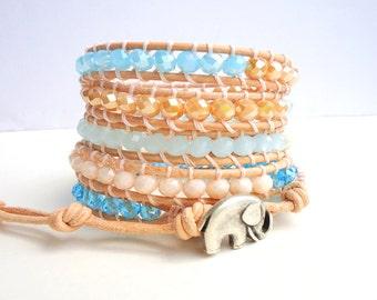 Sky Blue 5 Wrap Leather Bracelet/ Pastel bracelet/ ecru beige/ stack bracelet/ boho bracelet/ pale blue/ beach bracelet/ summer trends 2018