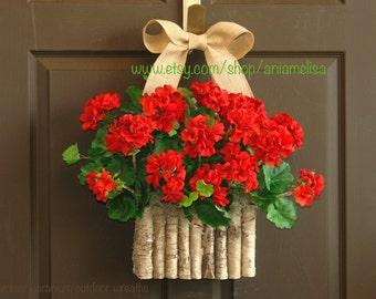 summer wreaths for front door wreaths red geranium birch bark vases welcome summer celebrations summer wreaths