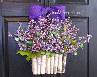 spring wreath summer wreath for front door wreaths purple berry year round pip berry wreaths home and living, decor housewares