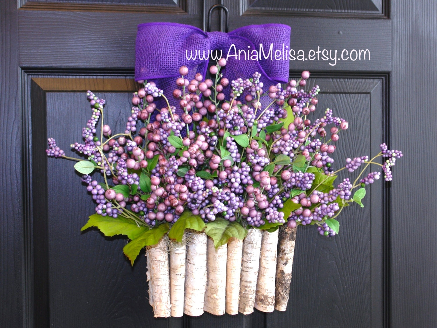 Spring wreath for front door wreaths purple berry by aniamelisa