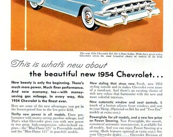 1954 Chevrolet Bel Air Car Ad 1950s Chevy Classic Car Advertising, Blue Auto Orange Background Original Vintage Wall Decor