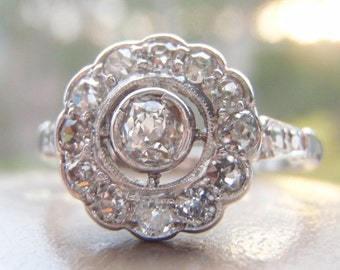 Delightfully Elegant Vintage Old Mine Diamond Engagement Ring. Quality Platinum & White Gold. Such A Pretty Ring!