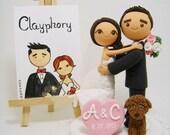 Lovely couple custom wedding cake topper with dog