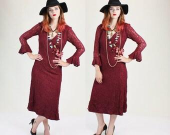 1970s Burgundy Lace Stevie Nicks Bell Sleeve Maxi Dress