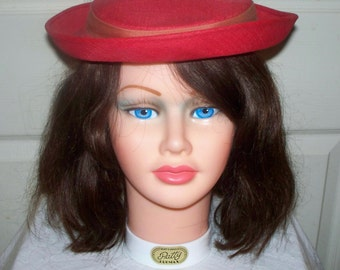 Vintage Red Pork Pie Style Hat  - Excellent Condition -Faded Red Ribbon- Sandswept