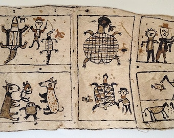 Vintage large, very Long Traditional Tapa Bark Cloth, Polynesian, Hand Painted, Figural, Ethnographic