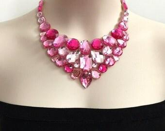 pink rhinestone bib necklace - prom, wedding, bridesmaids handmade necklace