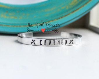 CLAIMED Hand Stamped Skinny Cuff Bracelet | Geeky Jewelry | Hand Stamped Jewelry | Zombie Jewelry | TWD Bracelet | Arrow Cuff | Apocalypse