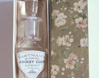 EDWARDIAN Antique 1900s Eastman's Jockey Club Philadelphia Pa CRYSTAL Glass Perfume Bottle Gold Floral Presentation Box Downton Nouveau