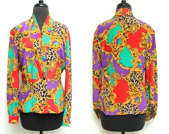 Vintage 80s SILKY blouse // Dana Buchman CHEETAH print baroque top // medium long sleeve wrapped colorful shirt