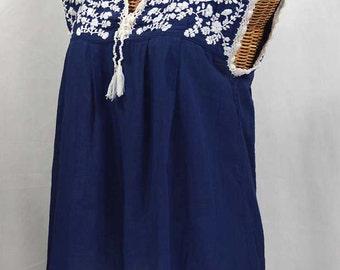 "Mexican Blouse Sleeveless Cinco de Mayo: ""La Marbrisa"" Denim Blue + White"