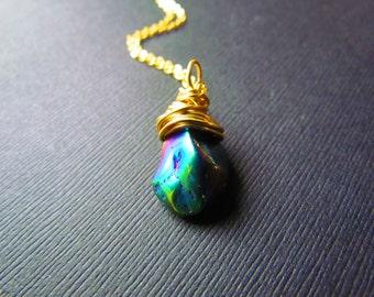 Rainbow Quartz Necklace - Boho Necklace - Gold Wire Wrapped Jewelry - Quartz Pendant - Quartz Jewelry -