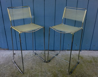 Pair of Chrome Barstools with Clear Vinyl Cord Seats Vintage Mid Century Seating Walter Lamb Era Strap Furniture