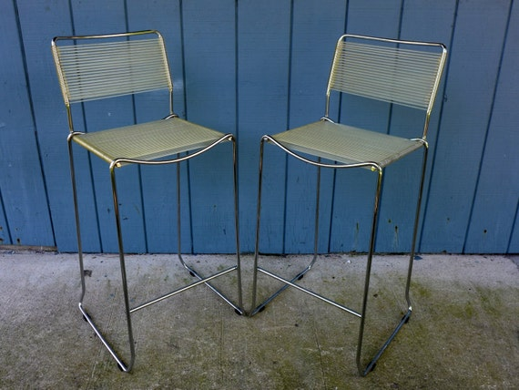 Pair Of Chrome Barstools With Clear Vinyl Cord Seats Vintage