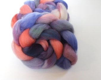 4oz BFL Blue Faced Leicester 'Sunrise' Combed Top Roving Dyed Wool Spinning Fiber Indie