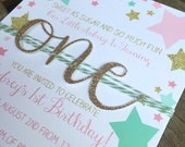 Pink, gold and mint green stars with glitter number birthday invitation, twinkle twinkle little star first birthday, girly glam party