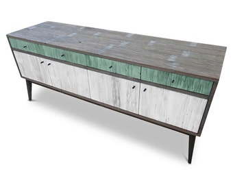Modern Mid Century Retro Scandinavian Jade Teal Mint Green & White Sideboard / Buffet / Entertainment Unit - Solid Timber, Recycled Wood