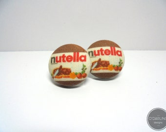 MEGA SALE Nutella Fabric Button Earrings