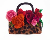 Felted Bag ART DECO BAG Leopard with Roses purse Nunofelt Handbag Felt Nuno felt Silk Eco roses fairy floral fantasy Fiber Art boho