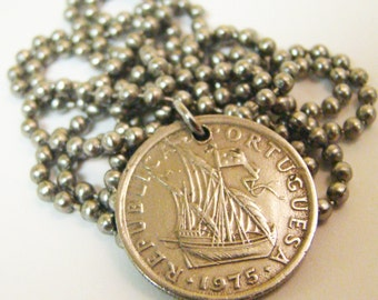 1975 Portugal Coin Necklace with Ship - Stainless Steel Ball - Silver - Sail - Ocean
