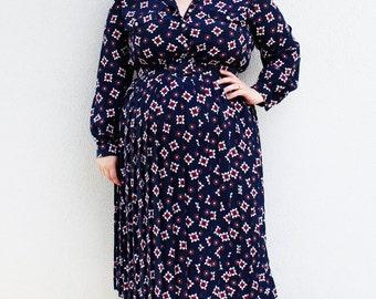 Plus Size - Vintage Navy Print Belted Shirt Dress (Size 16)