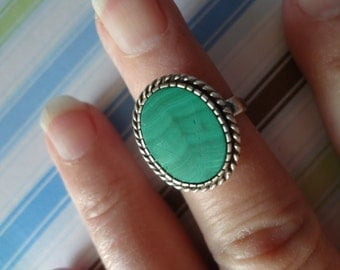 Silver Green Ring Malachite Green 925 Sterling Silver Gorgeous Gift Birthday Anniversary size 6 1/2 Womens Anniversary HS-02 Mexico Stone