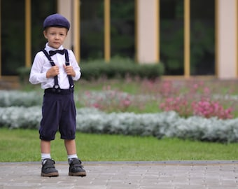Ring bearer outfit Boys Christening outfit Boys velvet suit Boys knickers Newspaper boy clothing  Page boy outfit