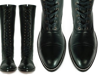 HESSE Tall Balmoral Boots, Black Leather LINEMAN Goodyear Welted Boots. (All sizes)