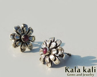 Red Ruby Flower Studs 1 gram Mariegold Floral Post studs 11 MM