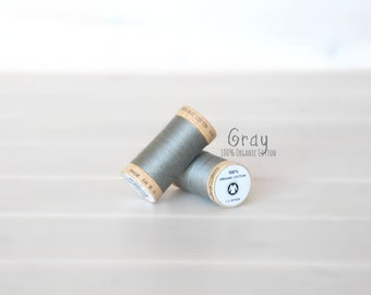 Organic Cotton Thread GOTS - 300 Yards Wooden Spool  - Thread Color Gray - No. 4832- Eco Friendly Thread - 100% Organic Cotton Thread