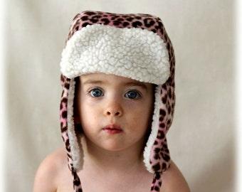Baby/Toddler Aviator Hat, Bomber Hat, Earflap Hat, Trapper Hat, Winter Hat, Girl's Hat, Pink Cheetah fleece
