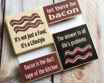 Bacon Fridge Magnets, Funny Magnet Set, Bacon Lover Gifts Under 10, Stocking Stuffer Gag Gift