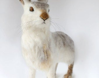 Large Needle Felted, White Tailed Jack Rabbit Sculpture, Life Like Jack Rabbit