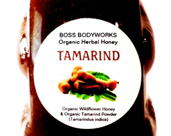 Organic TAMARIND Honey - 12oz - Tamarindus indica Herbal Infused Gourmet Honey, certified kosher gluten-free non-GMO raw wildflower