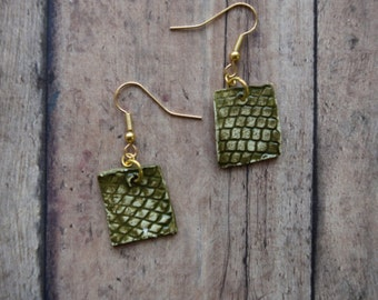 Moss Green and Gold Lace Impressed Lightweight Ceramic Square Cut Earrings