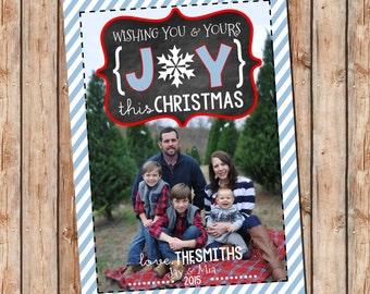 Photo Christmas Card | JOY Chalkboard | Photo Holiday Card | Digital Christmas Card {P6}