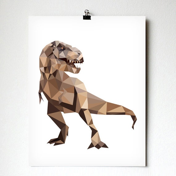 Trex art print geometric dinosaur art kids room decor for T rex bedroom decor