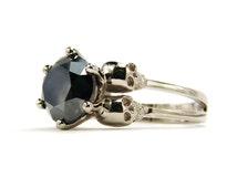 Diamond Skull Ring Black Stone White Gold Skull Ring Goth Engagement Ring Dark Alternative Bride Wedding Ring Memento Mori Womens Ring