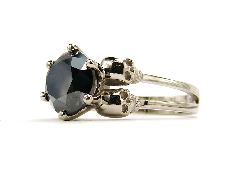 Diamond Skull Ring Black Stone White Gold by KipkalinkaJewels