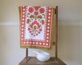 Vintage Cotton Tea Towel. Dish/Kitchen Towel. Vintage linens. Scandinavian Folk Art Style. Cottage Decor.